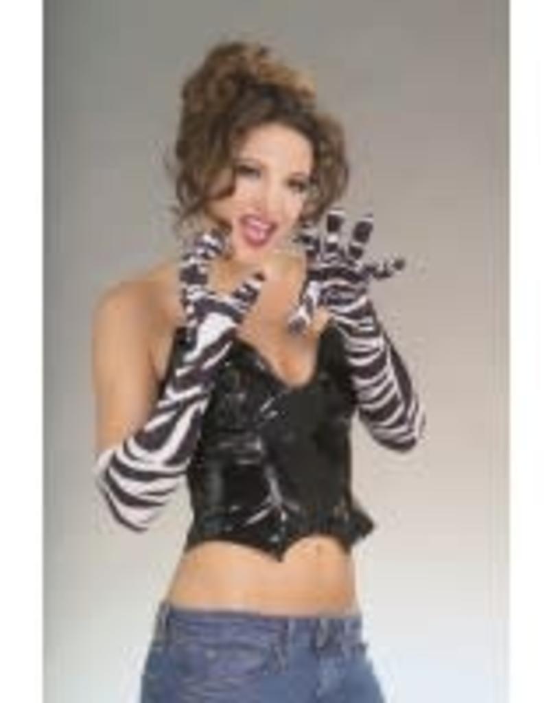 """20"""" Long Velvet Gloves - B&W Zebra"""