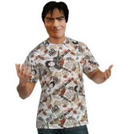 CHARLIE SHEEN MASK & SHIRT -STANDARD-