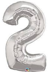 """Qualatex 34"""" Number Two - Silver"""