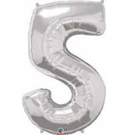 """Qualatex 34"""" Number Five - Silver"""