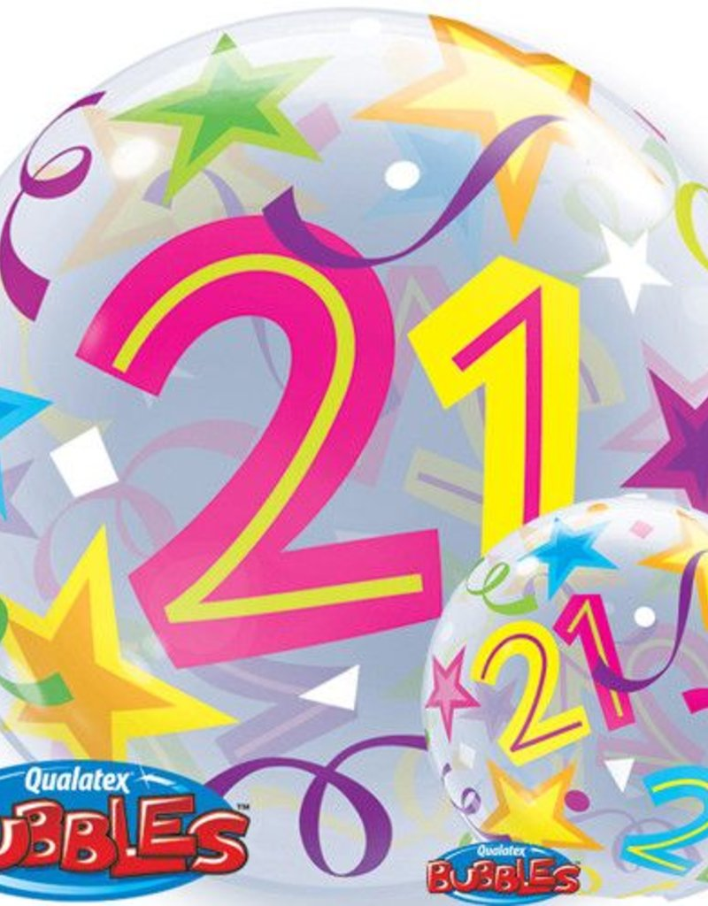 "Qualatex 22"" 21 BUBBLES WITH STARS"