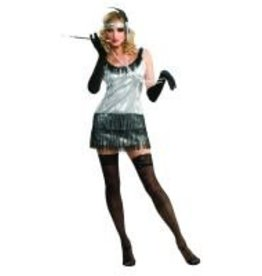 SILVER SEQUIN FLAPPER DRESS LARGE