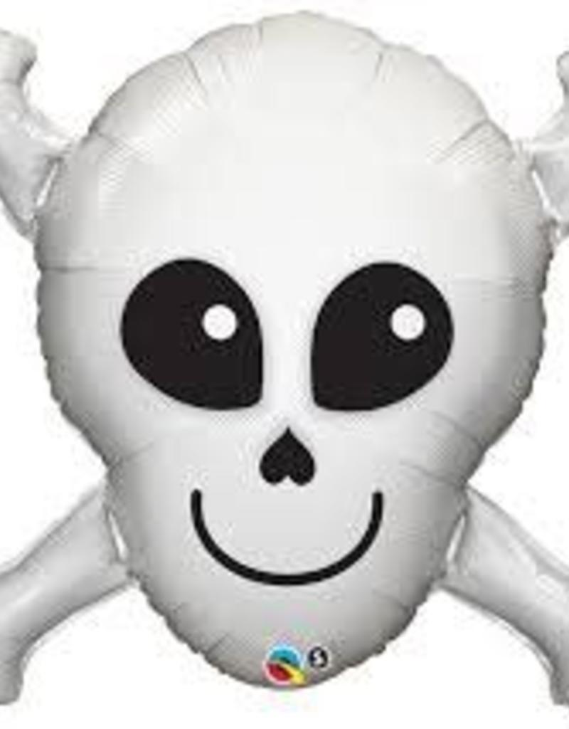 "Qualatex 32"" HAPPY SKULL w CROSS BONE"