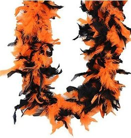 BLACK AND ORANGE FEATHER BOA