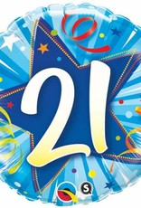 """Qualatex 18"""" 21 Stars & Streamers Blue"""