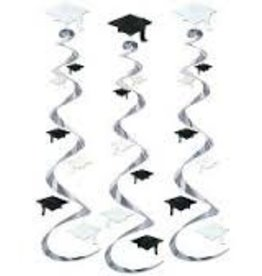 BLACK AND WHITE GRAD CAP WHIRLS