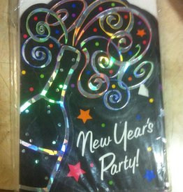 NEW YEARS PARTY CHAMPAGNE GLASS INVITATION 8pkS