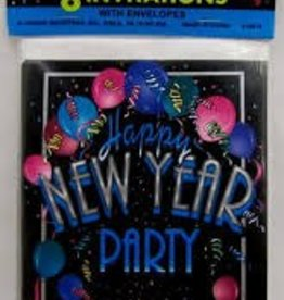 HAPPY NEW YEAR PARTY INVITATIONS 8pk