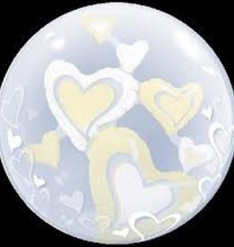"Qualatex 24"" Double Bubble - White & Ivory Floating Hearts"