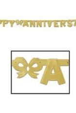 6' Anniversary Streamer Gold