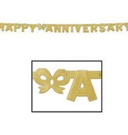 6' Anniversary Streamer Gold