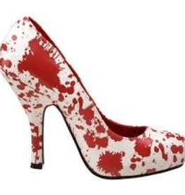 BLOODY (BLO12) WHITE & RED PATENT SHOE - 6