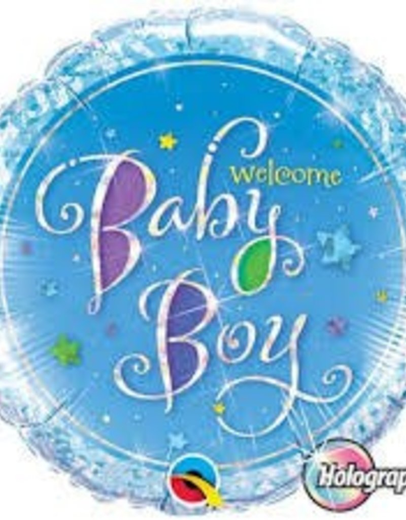 """Qualatex 18"""" WELCOME BABY BOY STAR HOLOGRAPHIC"""