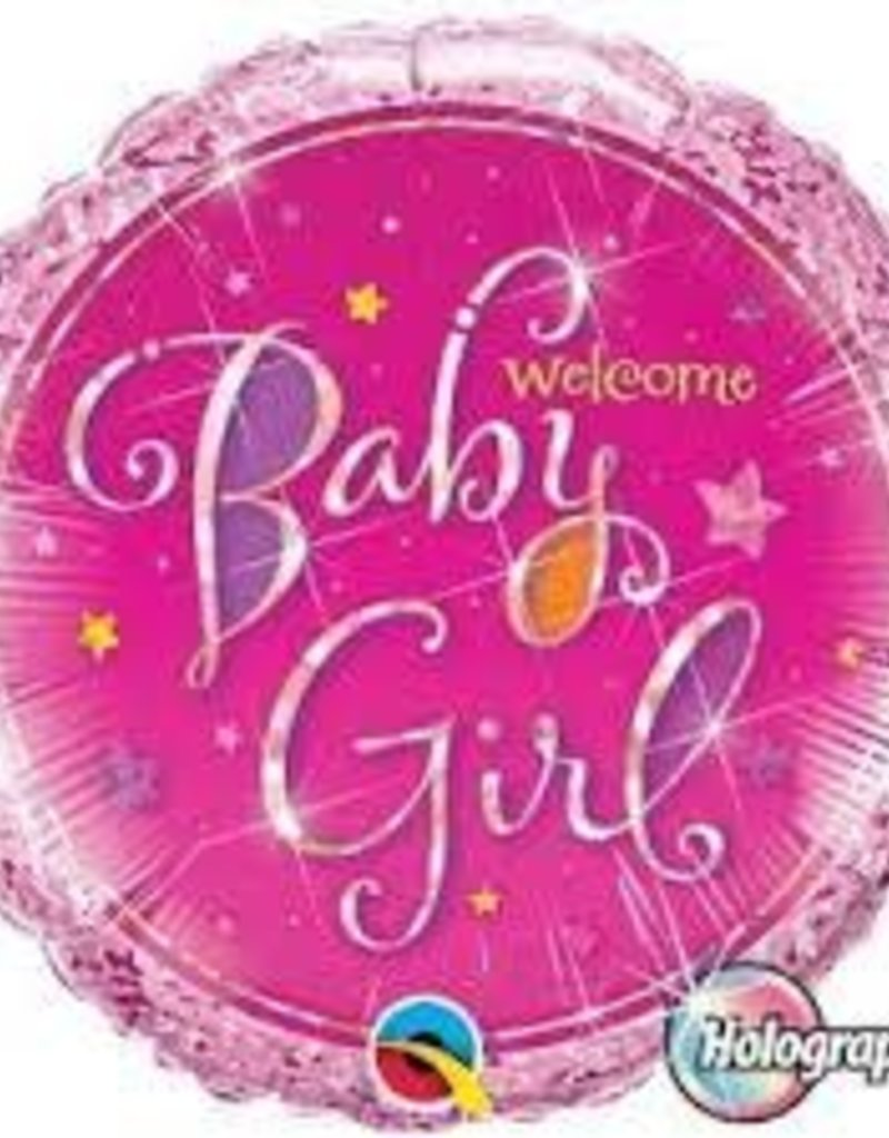 "Qualatex 18"" WELCOME BABY GIRL HOLOGRAPHIC FOIL"