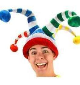 White/rainbow jester hat