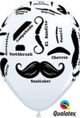 "Qualatex 11"" MUSTACHE STYLE WHITE 50 CT"