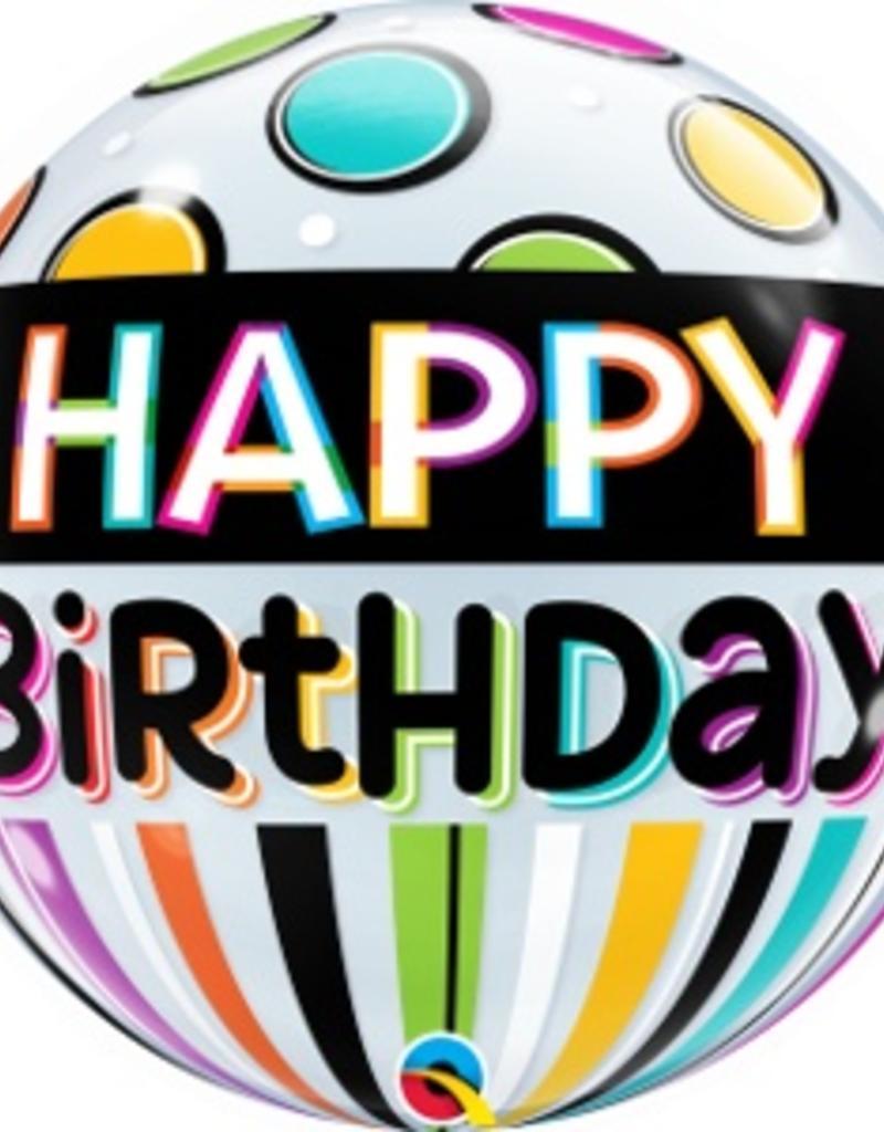"Qualatex 22"" Bubble - Black Band & Dots Happy Birthday"