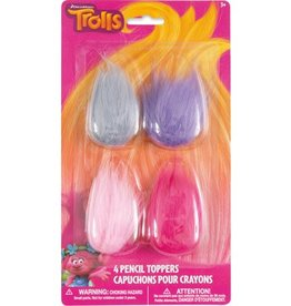 TROLL HAIR PARTY FAVOR PENCIL TOPPER (4PKG)
