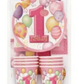 FIRST BIRTHDAY BALLOONS PINK KIT FOR 8