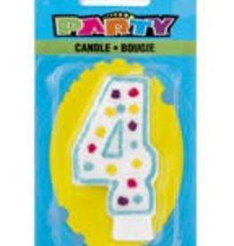 POLKA DOT NUMERAL 4 BIRTHDAY CANDLE
