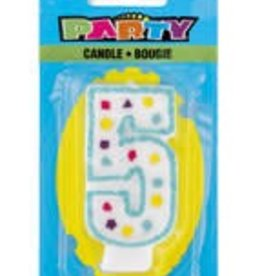 POLKA DOT NUMERAL 5th BIRTHDAY CANDLE