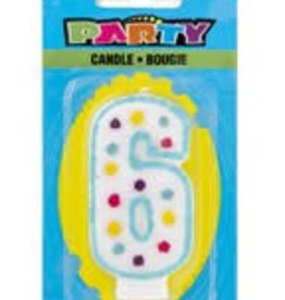 POLKA DOT NUMERAL 6TH BIRTHDAY CANDLE