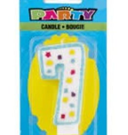 POLKA DOT NUMERAL 7TH BIRTHDAY CANDLE