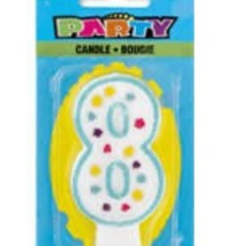 POLKA DOT NUMERAL 8TH BIRTHDAY CANDLE