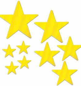 FOIL STAR CUTOUTS GOLD 9/PKG