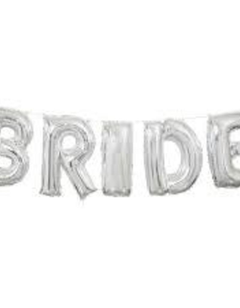 "14"" SILVER BRIDE BANNER BALLOON KIT"