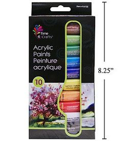 Time 4 Crafts,10-Pc Acrylic Paint, 12ml, colour box