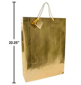 "Paper T., Jumbo Metallic Gold GIft Bag,Embossed, 13x18x4"", J-hook"