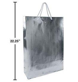 "Paper T., Jumbo Metallic Sliver Gift Bag, Embossed, 13x18x4"",J-hook"
