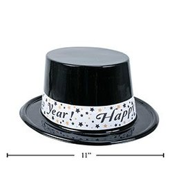 "Happy New Year Plastic Top Hat w/ Banner-Black,11""x9.5""x4.5"""