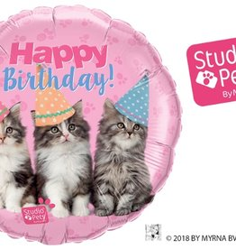 "Qualatex 18"" mylar/foil Birthday Kittens - Studio Pets"