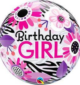 "Qualatex 22"" Bubble - Birthday Girl Floral Zebra Stripes"
