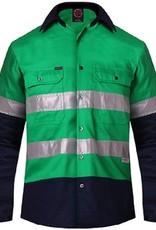 Ritemate Ritemate 2 Tone Cotton Twill Hi Vis 3M ReflectiveTaped LS Shirt