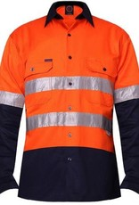 Ritemate Ritemate RM107V2R 2 Tone Light Weight Vented 3M Tapped Hi Vis LS Shirt