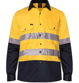 Ritemate Ritemate RM1050R 2 Tone Cotton Twill Hi Vis 3M ReflectiveTaped LS Shirt