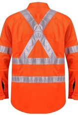 "Ritemate Ritemate RM106XR Open Front L/S 3M Taped ""X"" Back Hi Vis Shirt"