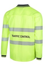 Workit Workwear Workit Hi-Vis Long Sleeve Cotton Back Polo with Reflective Tape - Traffic Control