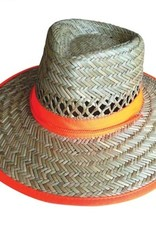 Safeman Straw Hat Fluro Orange Band (Green Under Liner)