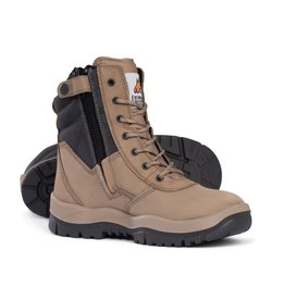 Mongrel Mongrel 'P' Series High Leg Zip Sided Stone Steel Cap Boot