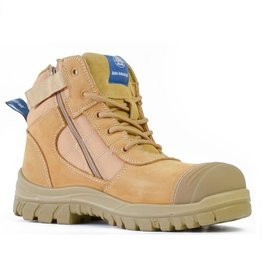 Bata Bata Zippy Zip Sided Wheat Safety Boot With Scuff Cap