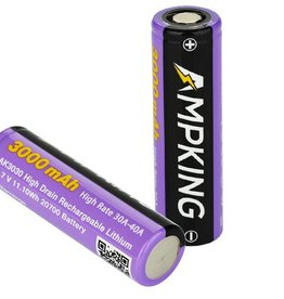 Ampking 20700 Battery | 3000mAh 30A | Flat Top