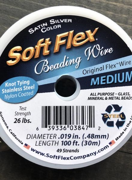 Soft Flex Soft Flex Beading Wire - Satin Silver- Medium 100ft.
