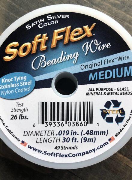 Soft Flex Soft Flex Beading Wire - Satin Silver- Medium 30ft.