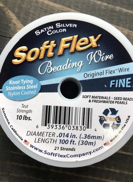 Soft Flex Soft Flex Beading Wire - Satin Silver- Fine 100ft.
