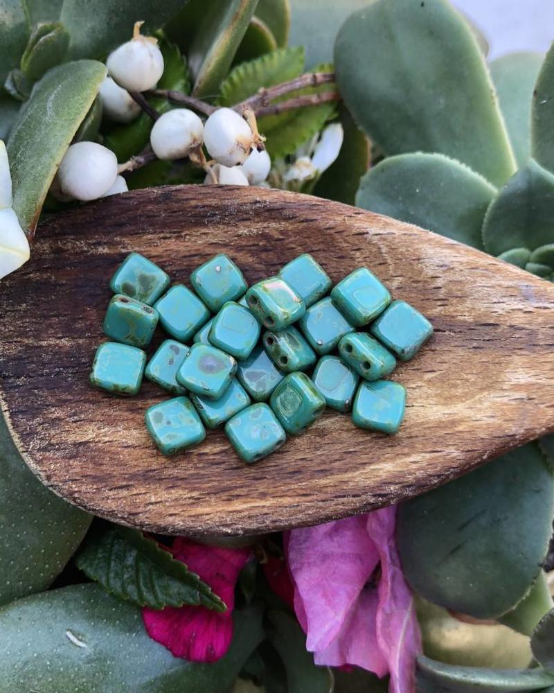 CzechMates TWO HOLE TILE 6MM- PICASSO PERSIAN TURQUOISE