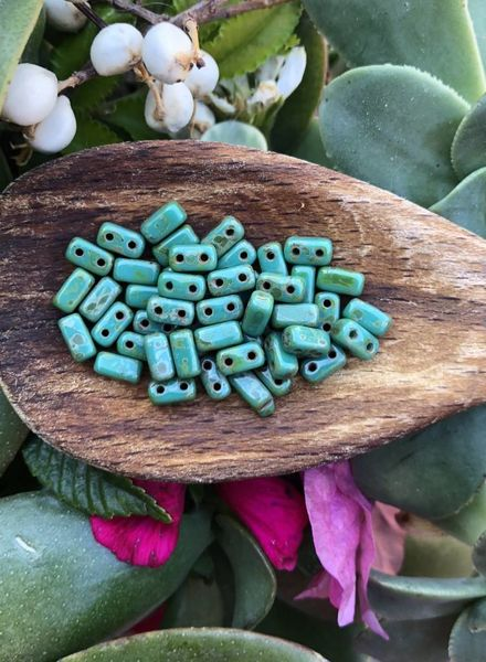 CzechMates TWO HOLE BRICKS 3X6MM- PERSIAN TURQUOISE - PICASSO